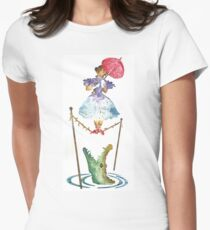 Perilous Pink Parasol - Stretching Portrait Womens Fitted T-Shirt