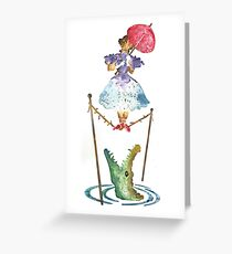 Perilous Pink Parasol - Stretching Portrait Greeting Card