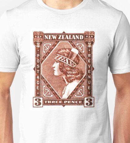 1936 New Zealand Maori Girl Postage Stamp Unisex T-Shirt