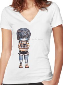 Smile Baby - Retro Tee Women's Fitted V-Neck T-Shirt