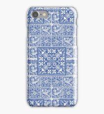 Blue Medieval Bird and Flower Pattern iPhone Case/Skin