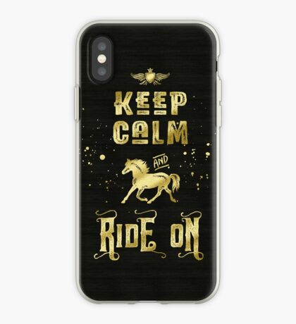 Keep Calm and Ride On Gold Horse Typography iPhone Case