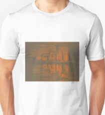 Temple of Debod, Madrid, reflected in the water, colorful drawing illustration. Unisex T-Shirt