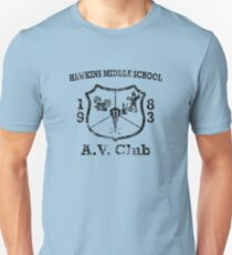 Hawkins Middle School AV Club - Black Weathered T-Shirt