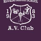 Hawkins Middle School AV Club - White Weathered by Smidge the Crab