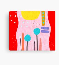 Red and Pink Happy Abstract Landscape Canvas Print