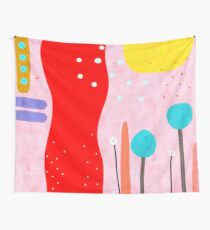 Red and Pink Happy Abstract Landscape Wall Tapestry