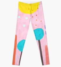 Red and Pink Happy Abstract Landscape Leggings