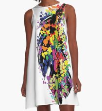 Colorful feather A-Line Dress