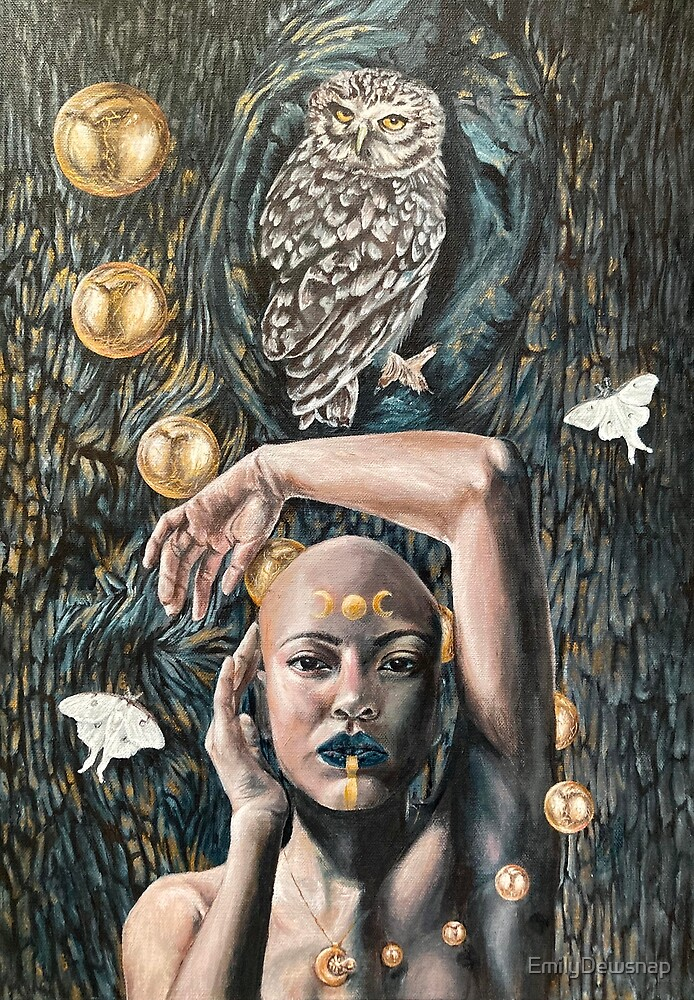 Nocturn - Magical Painting of a Moon Goddess with Owl and Luna Moths by EmilyDewsnap