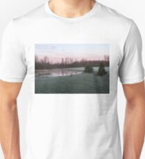 Frosty Morning - Quiet Pinks and Greens at the Pond T-Shirt
