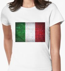 Italy flag painted on old brick wall texture background Womens Fitted T-Shirt