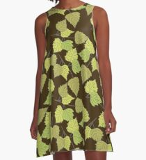 Birch leaves brown background A-Line Dress