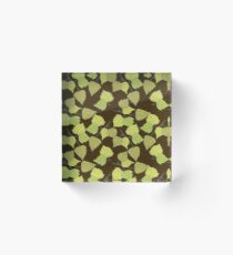 Birch leaves brown background Acrylic Block