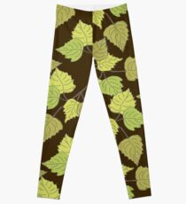 Birch leaves brown background Leggings