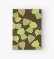 Birch leaves brown background Hardcover Journal