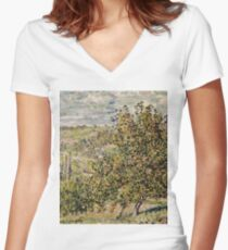 Claude Monet - Apple Blossom  Women's Fitted V-Neck T-Shirt