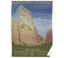 WPA United States Government Work Project Administration Poster 0018 Ranger Naturalist Service Zion National Park Poster
