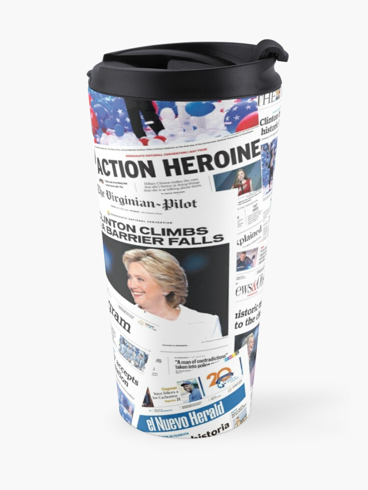 Alternate view of Hillary Clinton Nomination Historic Newspapers Travel Mug