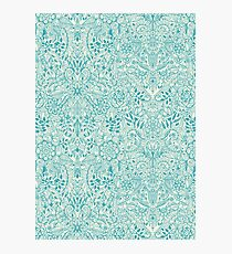 Detailed Floral Pattern in Teal and Cream Photographic Print