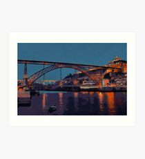 Porto River Douro and Bridge in the Evening Light Art Print