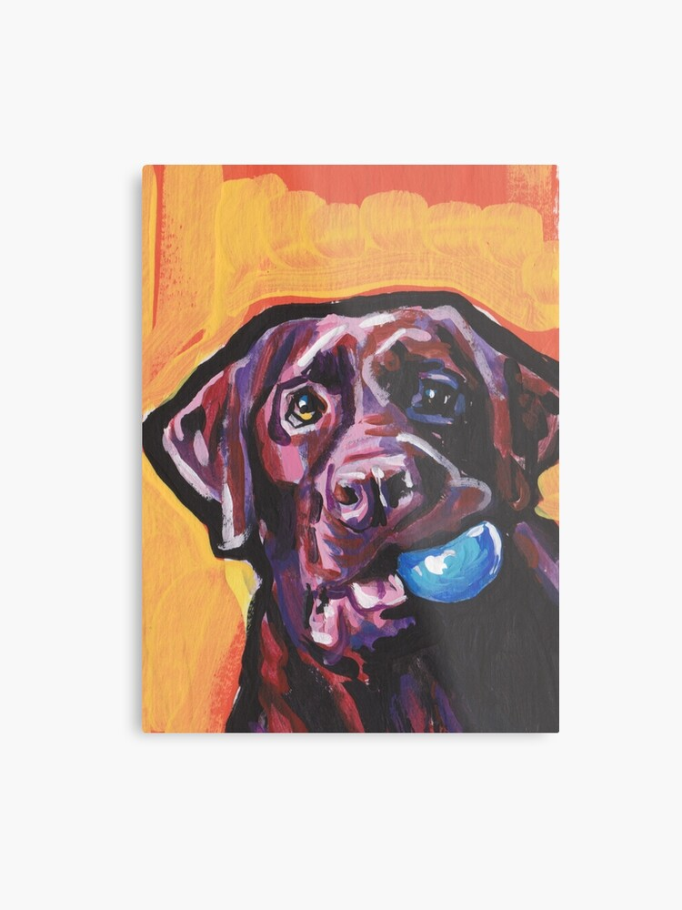 3af26d25 Chocolate Labrador Retriever Dog Bright colorful pop dog art Metal Print
