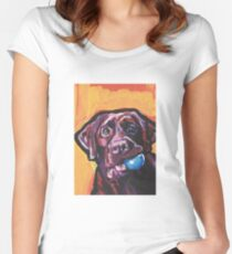 Chocolate Labrador Retriever Dog Bright colorful pop dog art Women's Fitted Scoop T-Shirt