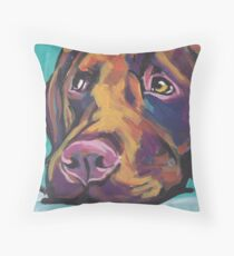 Chocolate Labrador Retriever Dog Bright colorful pop dog art Throw Pillow