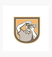Photographer Camera Shield Retro Photographic Print
