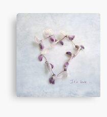 It's Love Wisteria Petals Heart Canvas Print