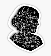 Virginia Woolf Quote and Silloette  Sticker