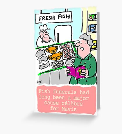Cartoon - Fish Funerals Greeting Card