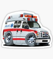 Cartoon Ambulance Car Sticker
