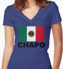 EL CHAPO Women's Fitted V-Neck T-Shirt
