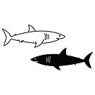 Black and White Sharks by cartoonbeing