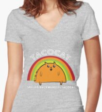 Tacocat spelled backwards is Tacocat Women's Fitted V-Neck T-Shirt