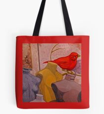 Red Bird with Mannequins Tote Bag