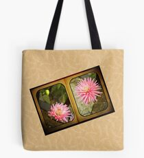 Pink Dahlias in an Old Worn Book Tote Bag