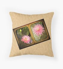 Pink Dahlias in an Old Worn Book Throw Pillow