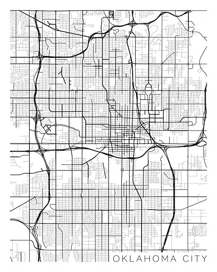 Oklahoma City Map, USA - Black and White\