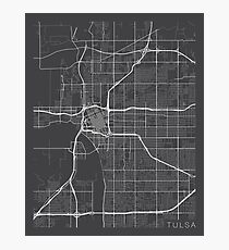 Tulsa Map, USA - Gray Photographic Print