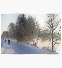 Cold winters day along the river Glomma, Elverum, Norway. Poster