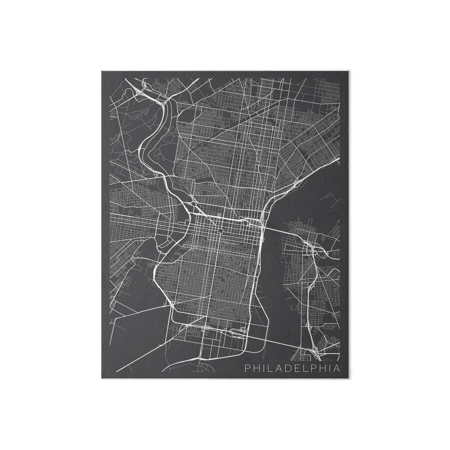 Philadelphia Map USA Gray Art Boards By MainStreetMaps Redbubble - Philadelphia map in usa
