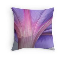 Macro of a Pale Lilac and Pink Morning Glory Throw Pillow
