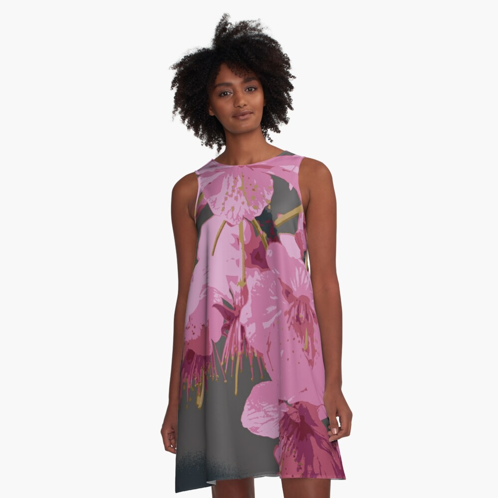 Beautiful Pink Sakura Cherry Blossoms Illustration A-Line Dress Front