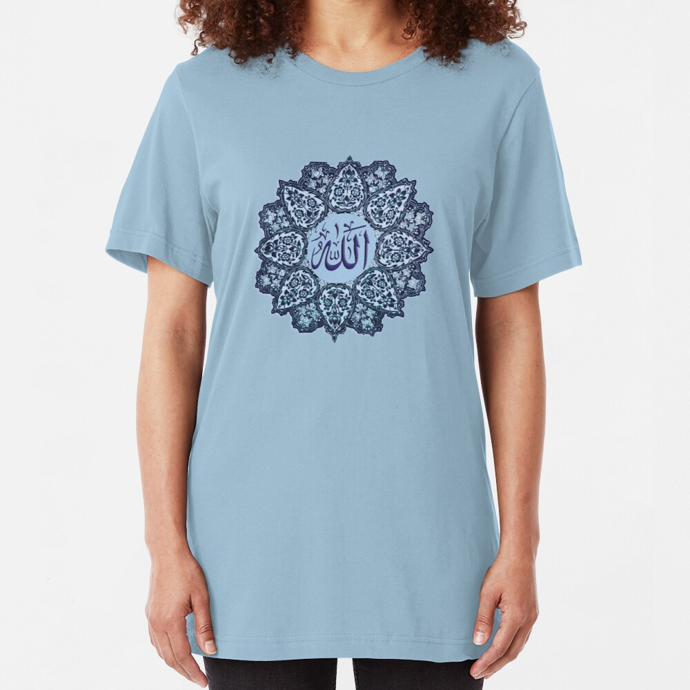 Allah name Ornaments tee design    Slim Fit T-Shirt