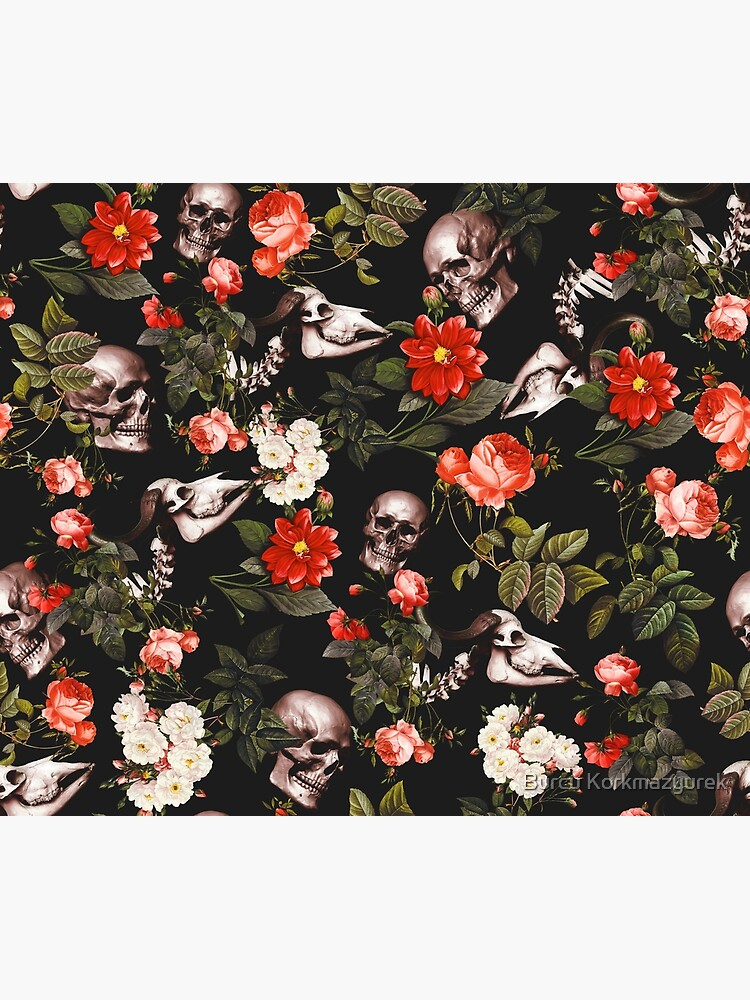 Skull and Floral Pattern by burcukyurek
