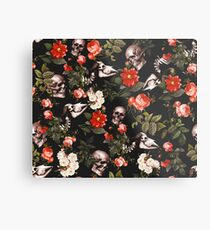 Skull and Floral Pattern Metal Print