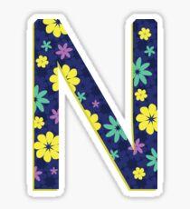 Flower Letter N Sticker