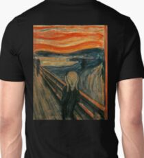 SCREAM, The Scream, Edvard Munch, Man at bridge holding head with hands and screaming. on BLACK Unisex T-Shirt